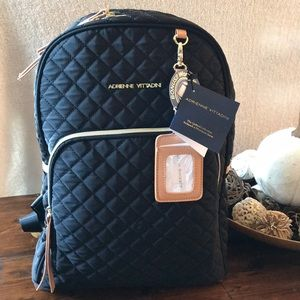Adrienne Vittadini Black Quilted Large Backpack
